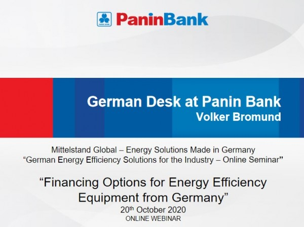 """German Desk: """"Financing Options for Energy Efficiency Equipment from Germany"""""""
